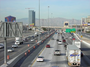 NDOT has been widening Interstate 15 in southern Nevada for 40 years, and it is still congested (photo source: NDOT)