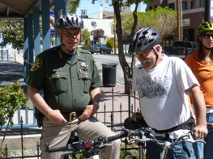 """Sheriff Kenny and Muscle Powered advisor Lee Harter getting ready to ride - """"Celebrity Ride"""" 2012"""